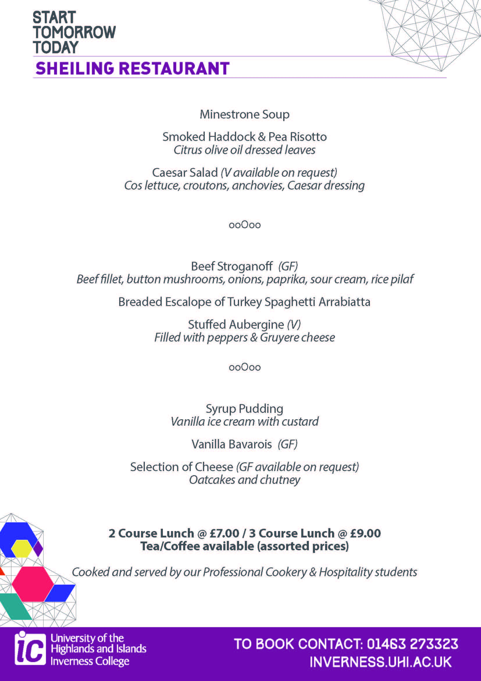 Sample lunch menu - Sheiling Restaurant, Inverness College UHI