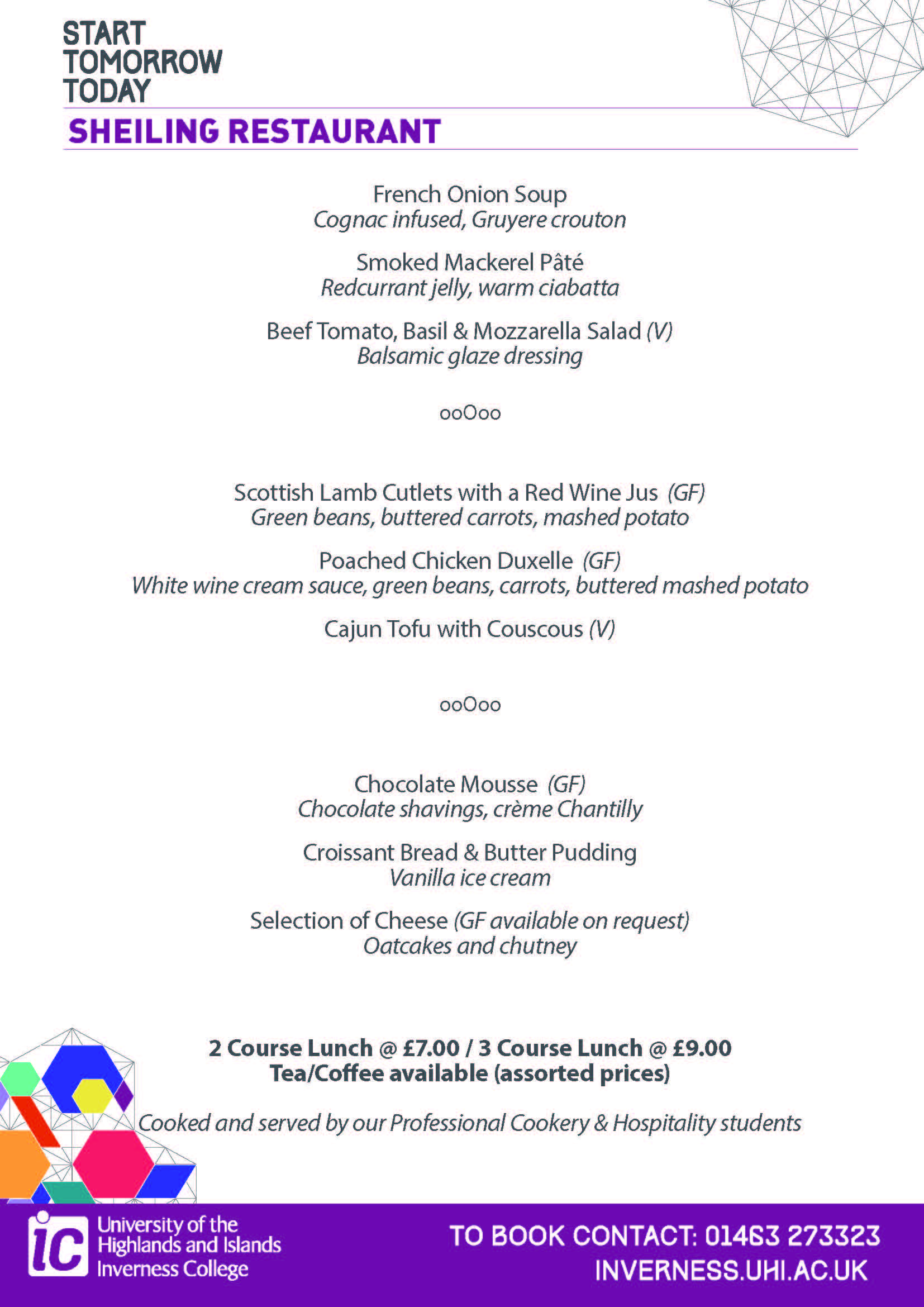 Sample lunch menu, Shieling Restaurant, Inverness College UHI