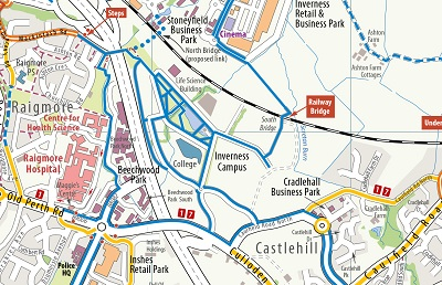 Map of cycle paths around Inverness campus
