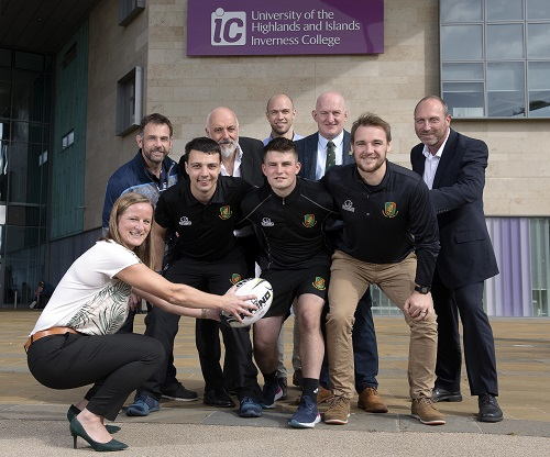 Kirsten Grant, Depute Head of the Care, Health and Wellbeing department at Inverness College UHI; Chris Hildrey, Regional Director – Caledonia North, Scottish Rugby; Ruaridh MacDonald, Highland Rugby Assistant Development Officer; Professor Chris O'Neil, Principal and Chief Executive of Inverness College UHI; William Moncrief, HND Coaching and Developing sport student who plays for Highland: Highl